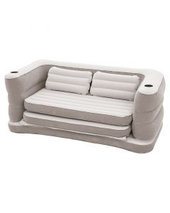 SILLÓN INFLABLE EXTENSIBLE, 200X160X64CM, GRIS, CON COJINES