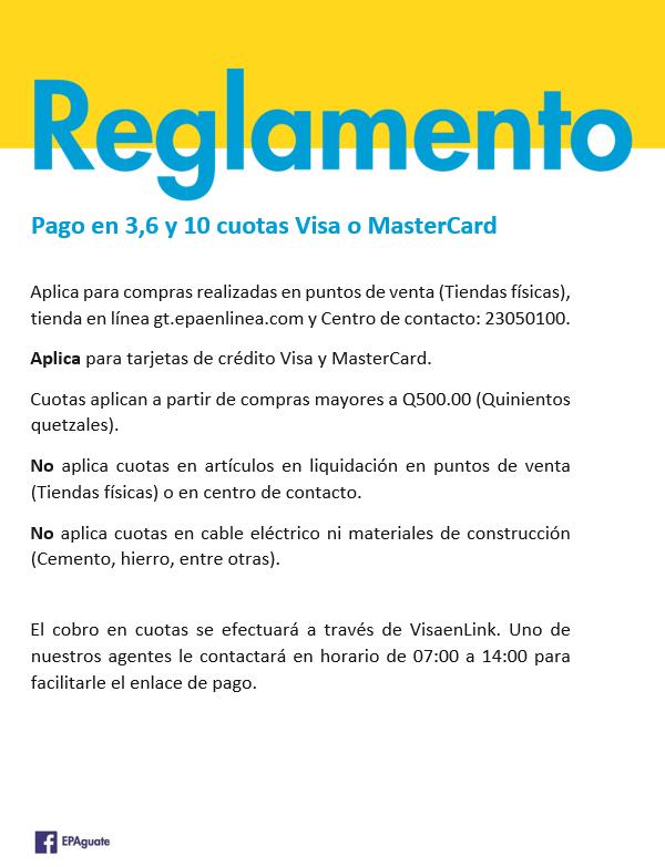 Pague en 3, 6 y 10 cuotas Visa o MasterCard