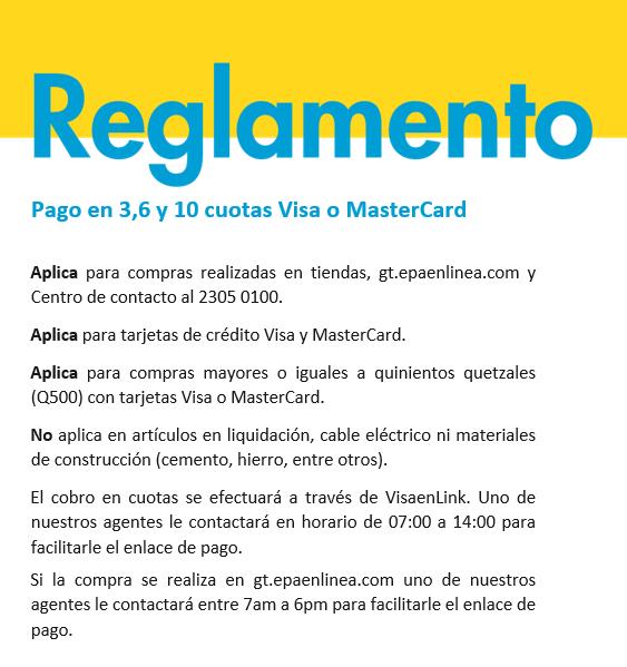 Reglamento pago en 3, 6 y 10 cuotas Visa o MasterCard